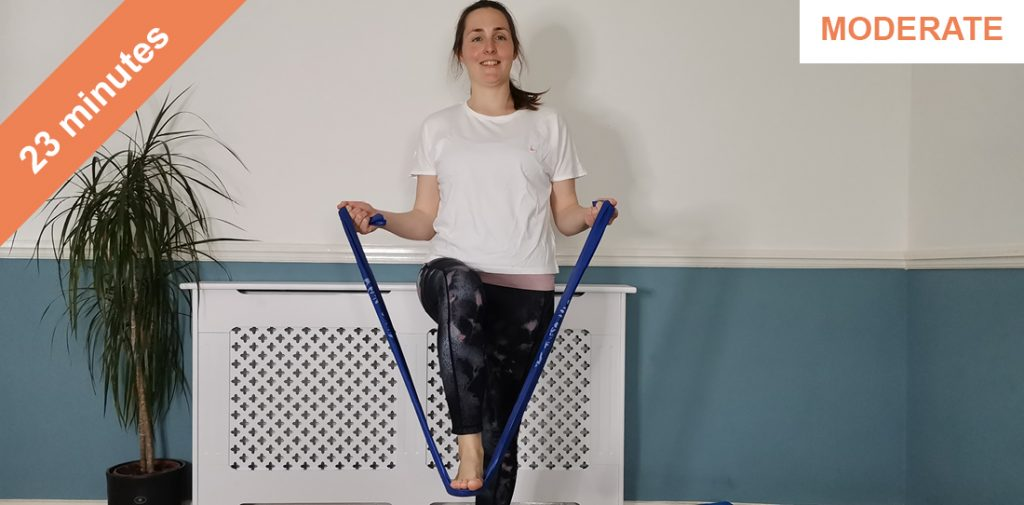 Resistance band pilates class