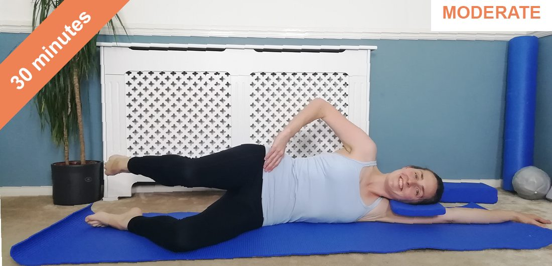Pilates mat work out with side kick